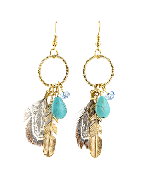 Feather charm and faux-stone earring - orangeshine.com