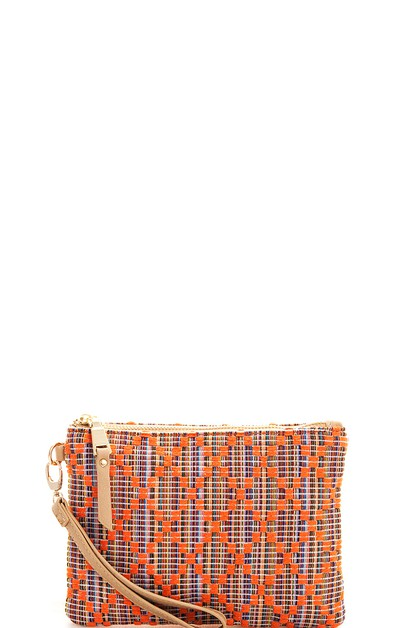 Designer Woven Canvas Clutch  - orangeshine.com