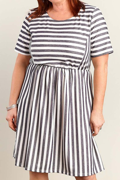 STRIPE PLUS SIZE FLARE DRESS - orangeshine.com