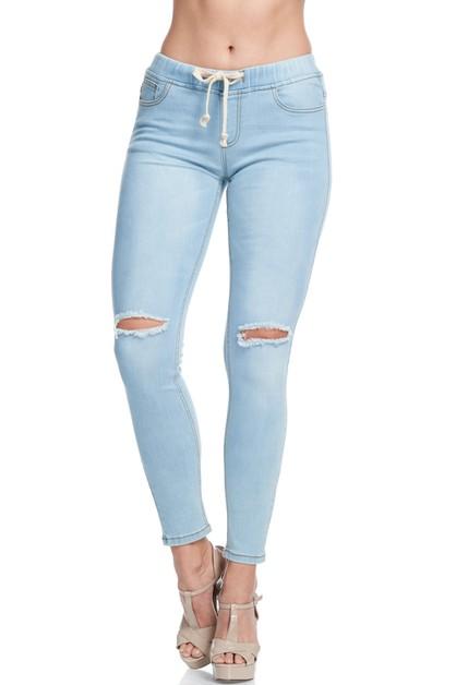 SLIT KNEE BASIC DENIM JOGGER - orangeshine.com