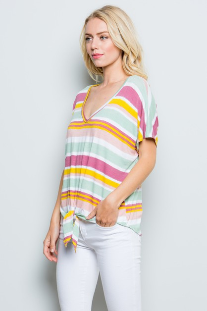 Striped Front Knot Top Plus - orangeshine.com
