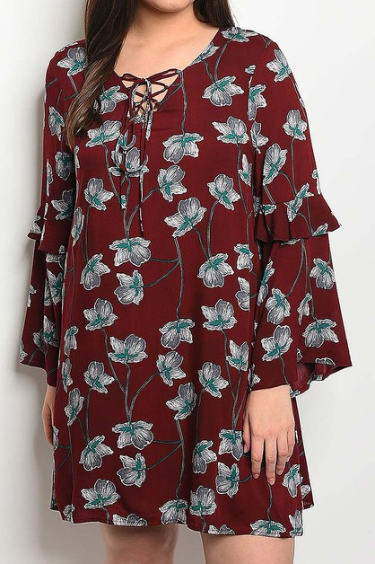 LACE UP RUFFLE SLEEVE FLORAL DRESS  - orangeshine.com