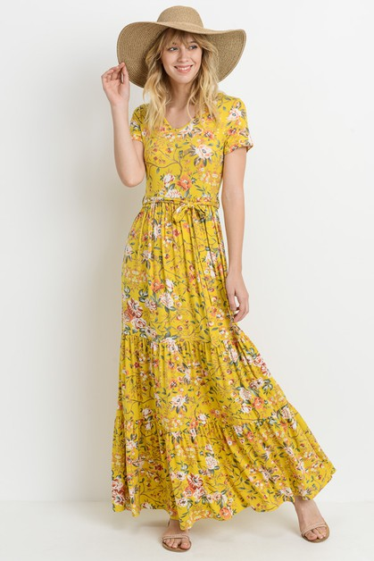 MAXI FLORAL DRESS - orangeshine.com