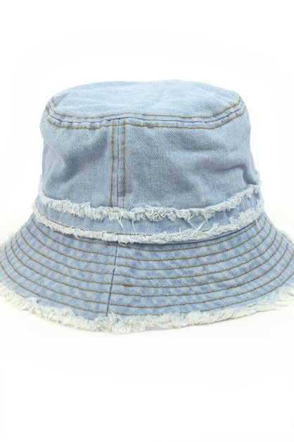 Distressed Jean Bucket Hat - orangeshine.com
