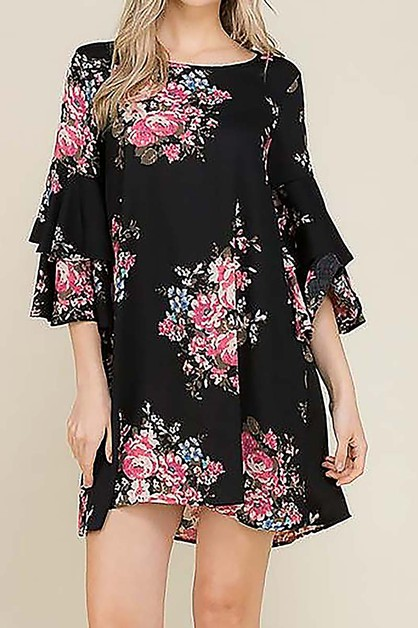 FLORAL RUFFLE SLEEVE DRESS  - orangeshine.com