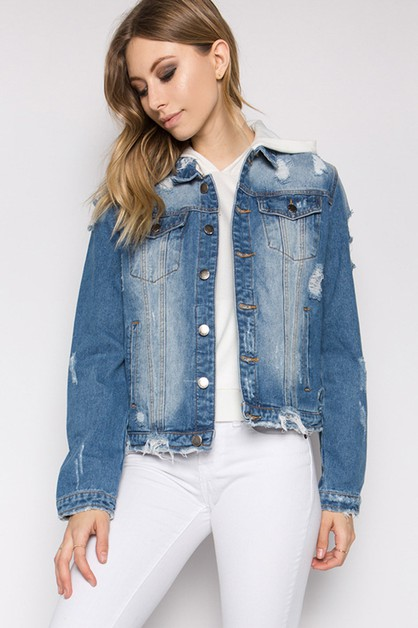 PLUS DESTROYED DENIM JACKET - orangeshine.com