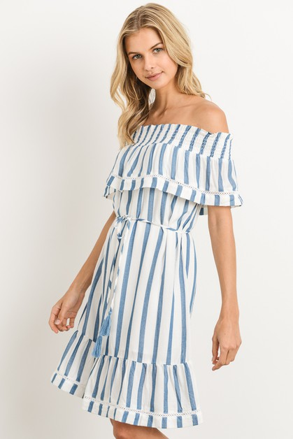 Off the shoulder stripe dress - orangeshine.com
