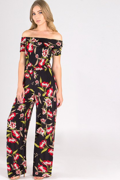 BOHO OFF SHOULDER WIDE LEG JUMPSUIT - orangeshine.com