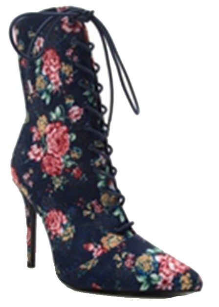 PRINTED POINTY TOE ANKLE BOOTIE HIGH - orangeshine.com