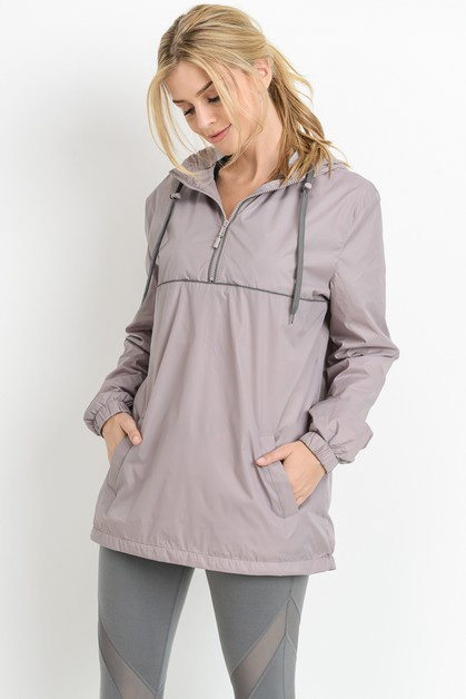 CONTRAST PIPING ACCENT CASUAL HOODIE - orangeshine.com
