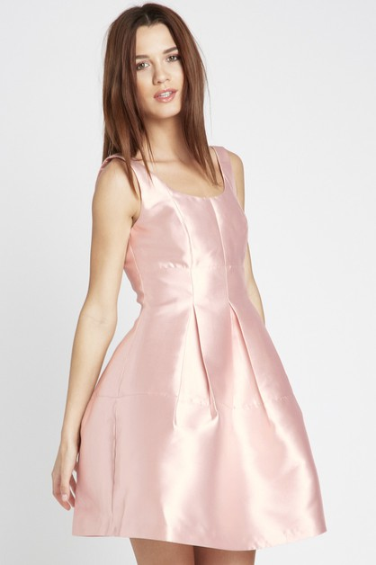 Box Pleated Fit-and-Flare Dress Pink - orangeshine.com