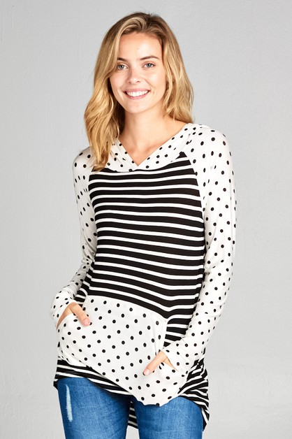 STRIPE AND POLKA DOT PKT HOODIE TOP - orangeshine.com