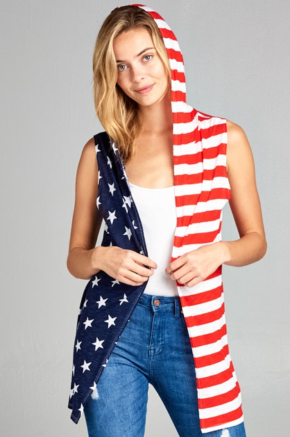 AMERICAN FLAG SLEEVELESS CARDIGAN - orangeshine.com