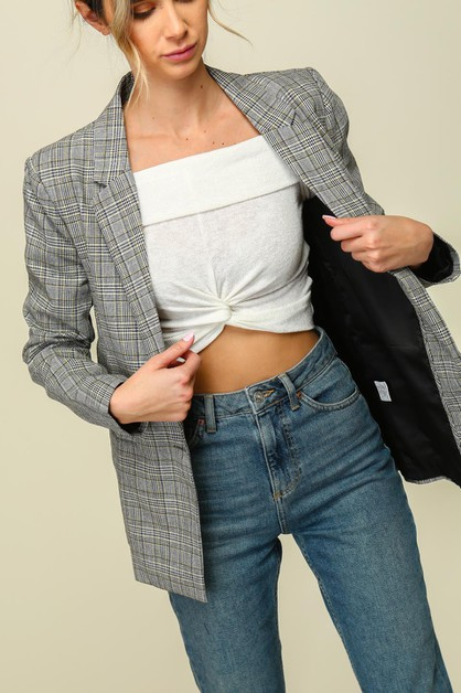Plaid blazer with welt pockets - orangeshine.com