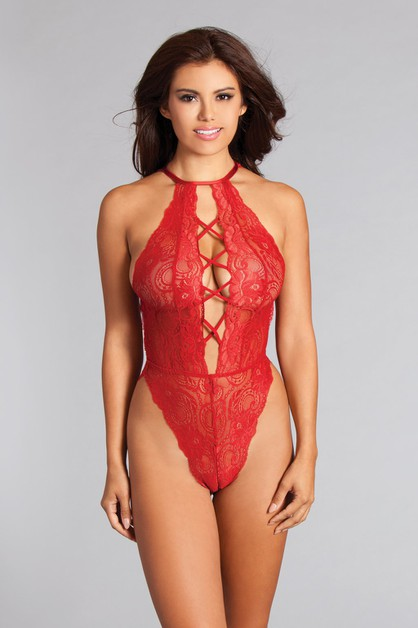 French Cut Lace Thong Teddy  - orangeshine.com