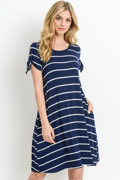 STRIPED TEE DRESS RIBBON SLEEVES - orangeshine.com