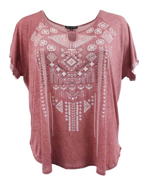 Peach Tee with Tribal Print Design - orangeshine.com