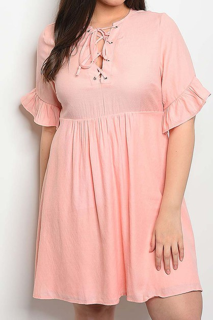 LACE UP RUFFLE SLEEVE BABY DOLL  - orangeshine.com