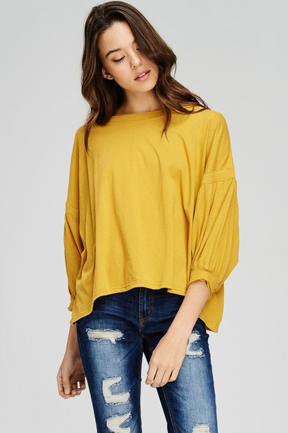 Solid Puffed sleeve cotton top - orangeshine.com