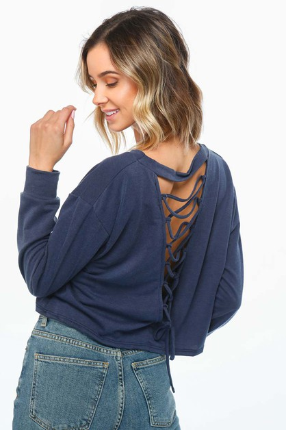 Knit top with crisscross detail - orangeshine.com