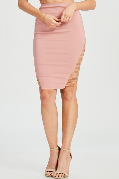 SIDE STRAP PENCIL SKIRT - orangeshine.com