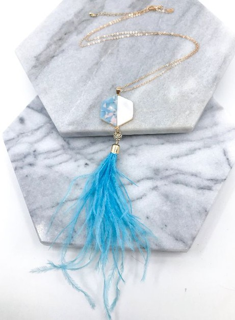 Feather Pendant Necklace  - orangeshine.com