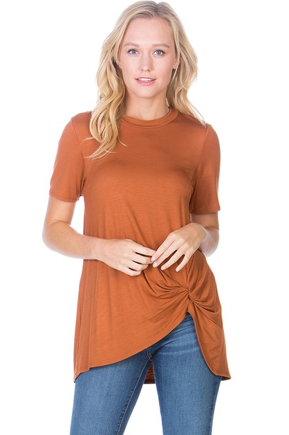Solid Front Knot Top  - orangeshine.com