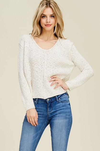 Open Stitch Knit Crop Top - orangeshine.com