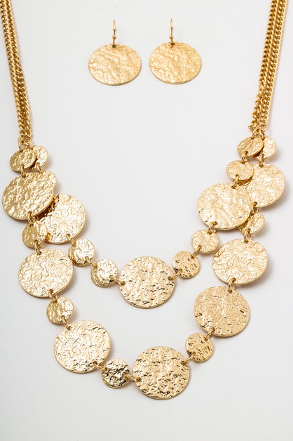 Hammered Coins Earrings Necklace Set - orangeshine.com