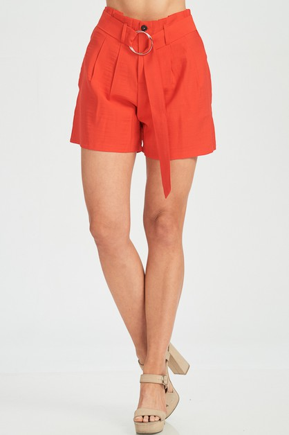 SOLID BELTED SHORT WITH POCKET  - orangeshine.com