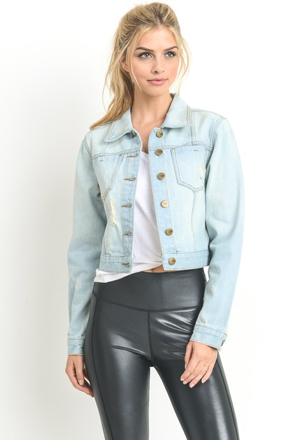 SLIGHT DISTRESSED SHORT DENIM JACKET - orangeshine.com
