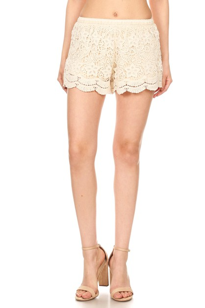 Off White Crochet Lace Shorts - orangeshine.com