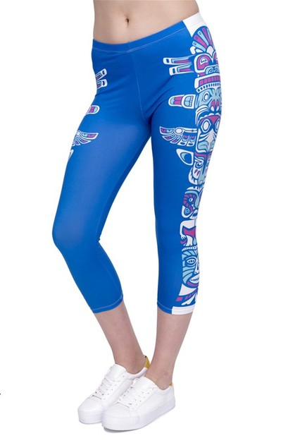 Sublimated Printed Capri Leggings - orangeshine.com