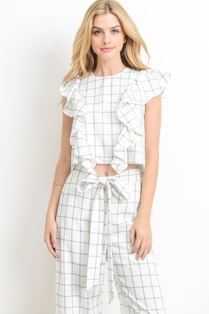 Ruffled Windowpane Crop Top  - orangeshine.com