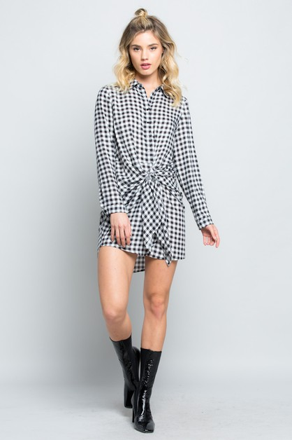 GINGHAM DRAPED TIE-FRONT SHIRT DRESS - orangeshine.com