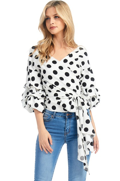 STRIPED POLKA DOT SURPLICE TOP - orangeshine.com
