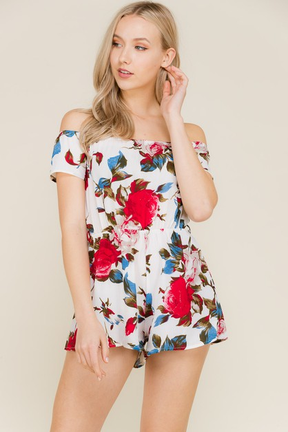 Floral Print Off Shoulder Romper - orangeshine.com