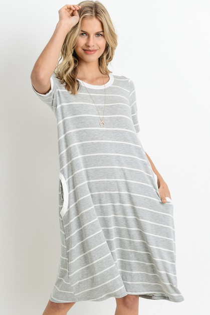STRIPED TEE DRESS WITH SIDE POCKETS - orangeshine.com