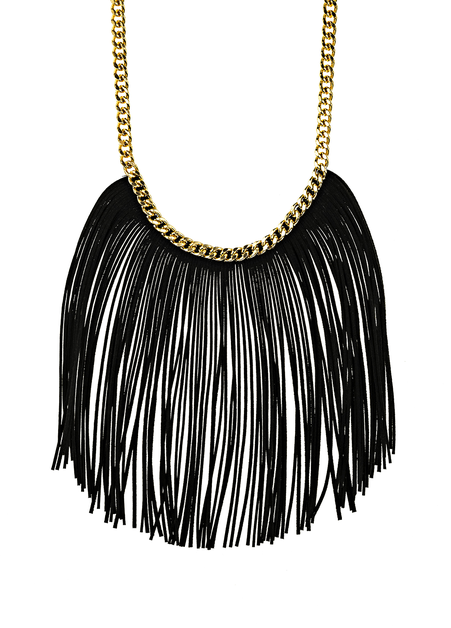 Black Fringe Statement Necklace - orangeshine.com