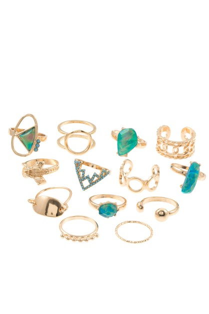 13PC FRAMED FAUX GEM RING SET  - orangeshine.com
