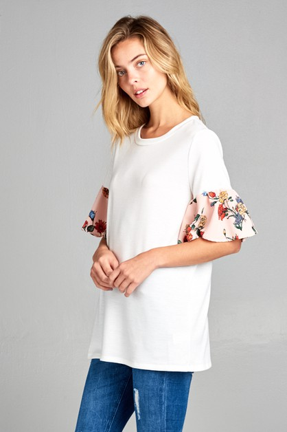 SOLID BODY FLORAL RUFFLE SLEEVE TOP - orangeshine.com