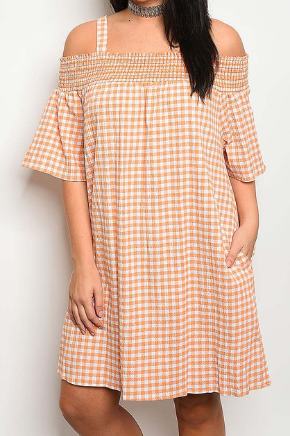 OFF SHOULDER POCKET N SMOKE DRESS  - orangeshine.com