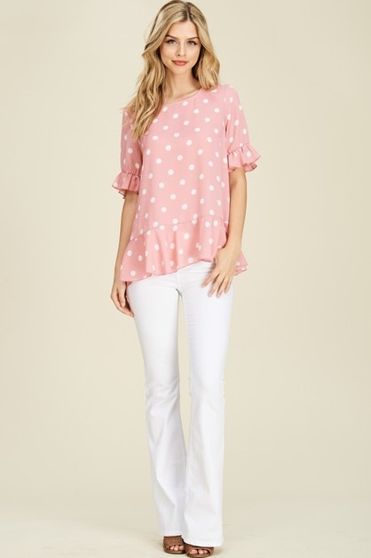 Round Neck Polka Dot Ruffle Top - orangeshine.com