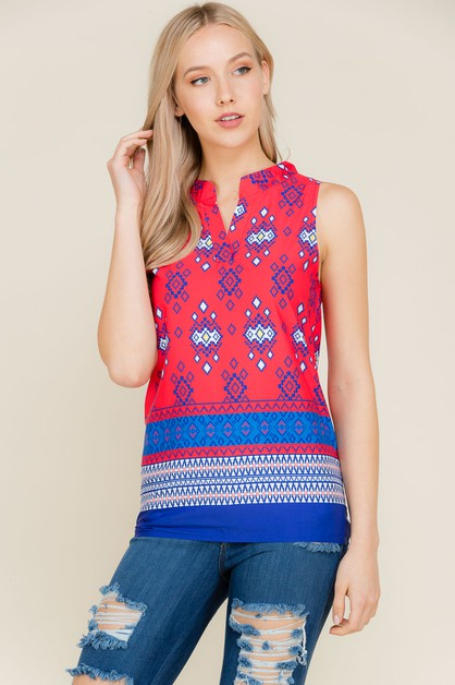 Border Print Sleeveless Top - orangeshine.com