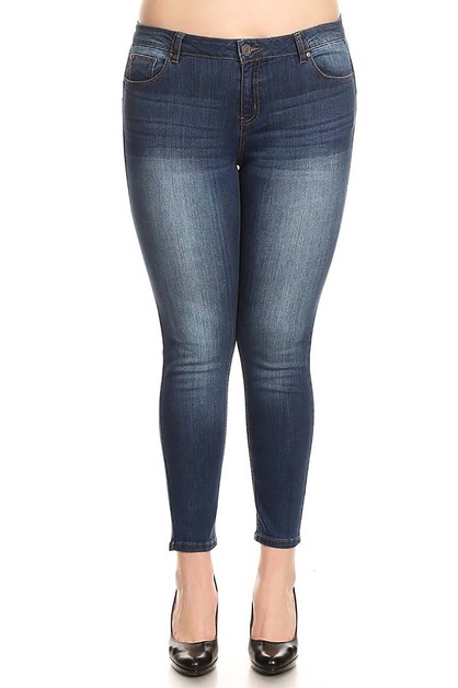 MEDIUM WASH DENIM PLUS SIZE JEANS - orangeshine.com