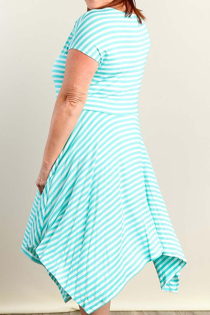 STRIPE PLUS SIZE DRESS - orangeshine.com