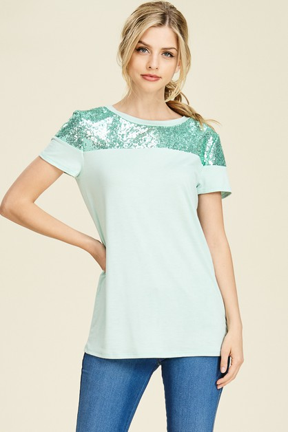 SHORT SLEEVE SEQUIN DETAIL TOP - orangeshine.com