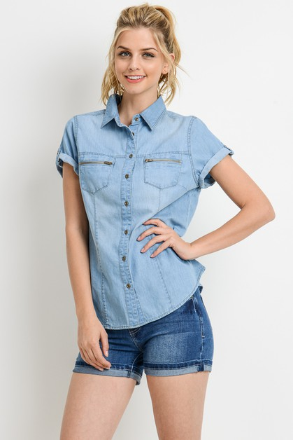 Short Sleeve Chambray Shirt - orangeshine.com