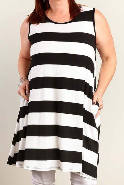 STRIPE PLUS SIZE TUNIC DRESS - orangeshine.com