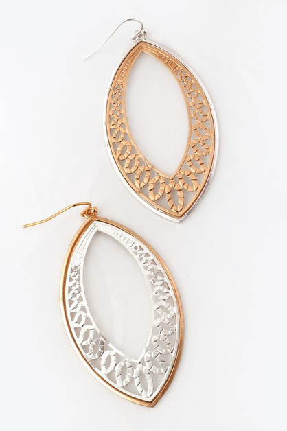 Metal Filigree Hook Earrings - orangeshine.com